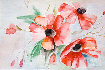 Watercolor Poppy Flower  Poster