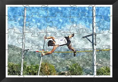 Watercolor Puzzle Design Of Pole Vault Jump Poster by John Vito Figorito