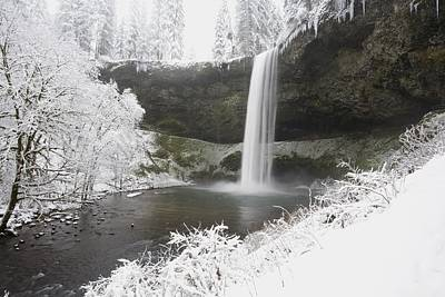 Waterfall In Winter Poster by Craig Tuttle