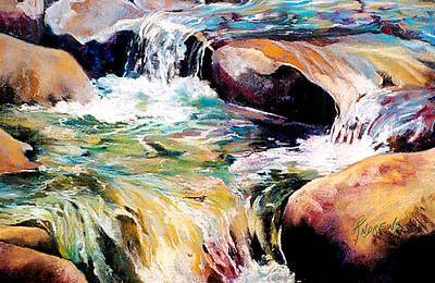 Poster featuring the painting Waterfall Maui by Rae Andrews
