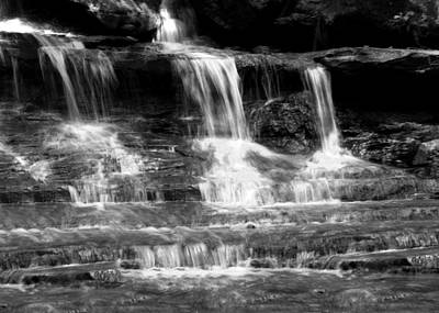 Waterfall Trio At Mcconnells Mill State Park In Black And White Poster