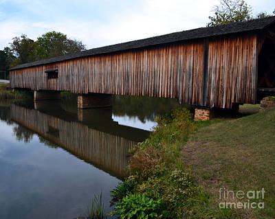Watson Mill Covered Bridge-reflection Poster by Eva Thomas