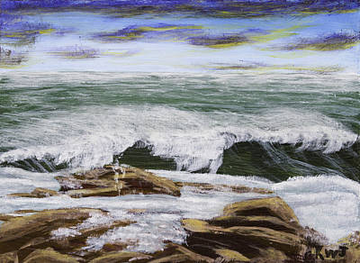 Waves And Rocks Maine Seascape Painting Poster by Keith Webber Jr