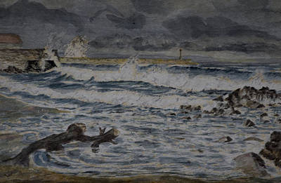 Poster featuring the painting Waves On The Pier by Rob Hemphill