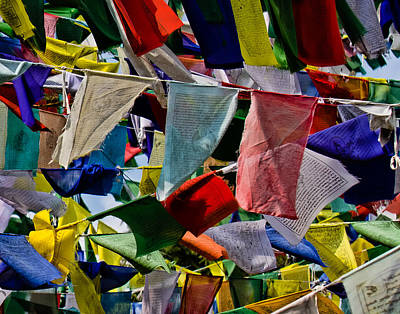 Poster featuring the photograph Waving Prayer Flags by Don Schwartz