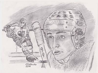Poster featuring the drawing Wayne Gretzky-the Great One by Chris  DelVecchio
