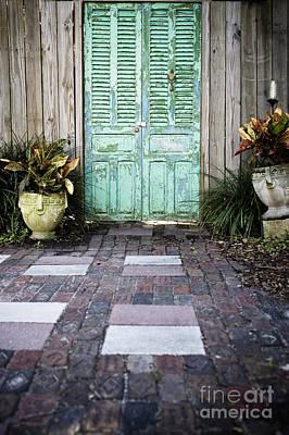 Weathered Green Door Poster