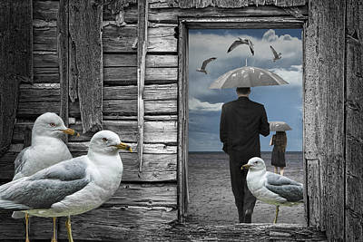 Weathering The Gulls Poster by Randall Nyhof