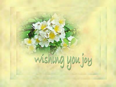 Wedding Wishing You Joy Greeting Card - Wildflower Multiflora Roses Poster