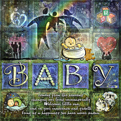 Poster featuring the digital art Welcome Baby Boy by Evie Cook