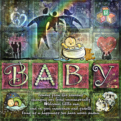 Poster featuring the digital art Welcome Baby Girl by Evie Cook