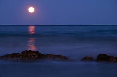 Wells Beach Maine Moonrise Poster