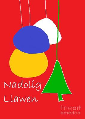 Poster featuring the digital art Welsh Christmas Card by Barbara Moignard