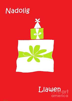 Poster featuring the digital art Welsh Merry Christmas Red by Barbara Moignard
