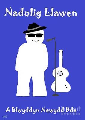Poster featuring the digital art Welsh Snowman Musician by Barbara Moignard