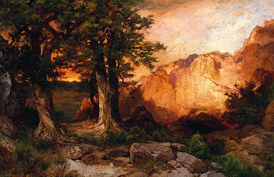 Western Sunset Poster by Thomas Moran