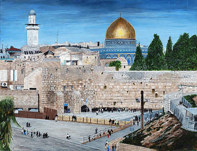 Poster featuring the painting Western Wall by Stuart B Yaeger