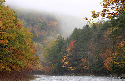 Westfield River Autumn Fog Poster by John Burk
