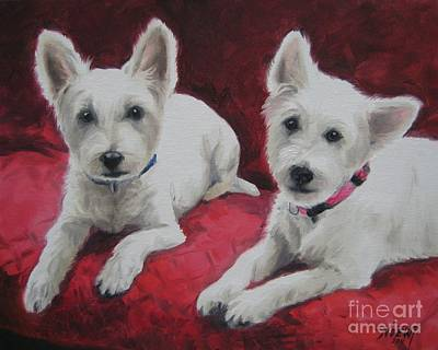 Poster featuring the painting Westies by Jindra Noewi
