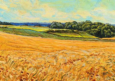 Wheat Field In Limburg Poster by Nop Briex