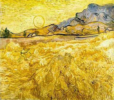Wheat Field With Reaper And Sun Poster by Vincent Van Gogh