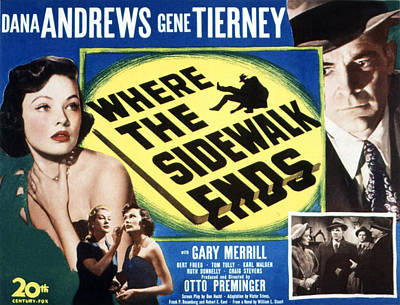 Where The Sidewalk Ends, Gene Tierney Poster by Everett