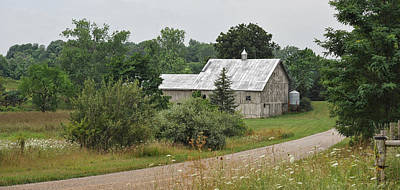 White Barn On A Back Country Road Poster