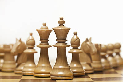 White Chess Set On Board Poster by Walter Zerla