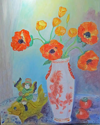 White China Vase With Poppies Poster