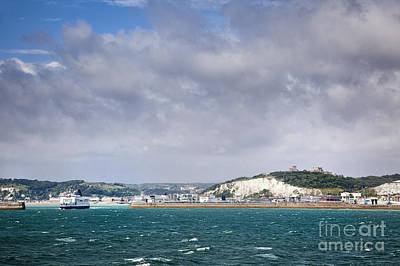 White Cliffs Of Dover And Port Entrance, England Poster