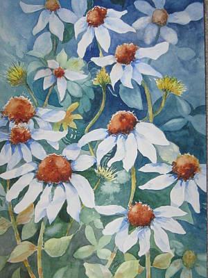 White Coneflowers II Poster