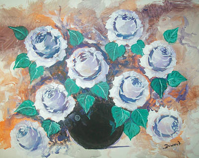 White Roses Poster by Raymond Doward