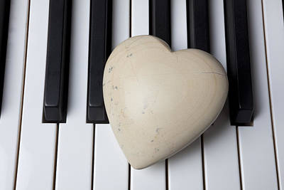 White Stone Heart On Piano Keys Poster by Garry Gay