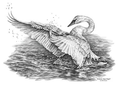 Poster featuring the drawing White Swan - Dreams Take Flight by Kelli Swan