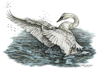 Poster featuring the drawing White Swan - Dreams Take Flight-tinted by Kelli Swan