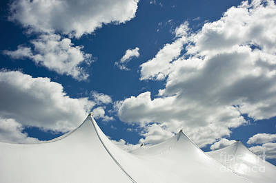 White Tent Top Against A Cloudy Sky Poster by Sam Bloomberg-rissman