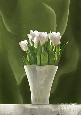 Poster featuring the digital art White Tulips by Johnny Hildingsson