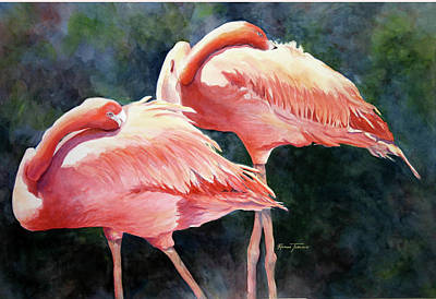 Poster featuring the painting Who's Peek'n - Flamingos by Roxanne Tobaison