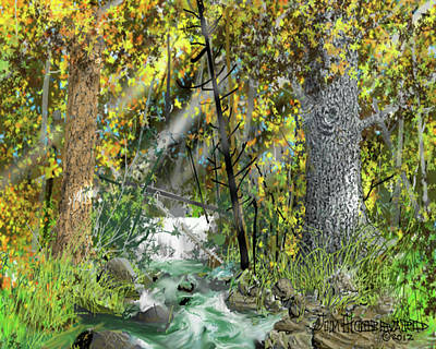 Poster featuring the drawing Wild Creek - October by Jim Hubbard
