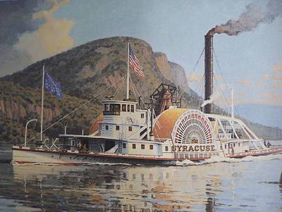 William G Muller Lithograph Towboat Syracuse  Poster