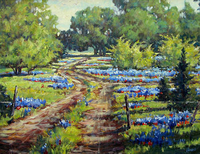 Wimberley's Bluebonnets Poster by Vickie Fears