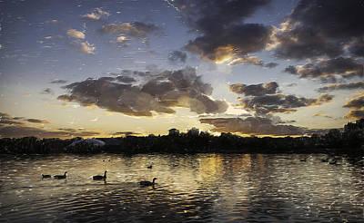 Poster featuring the digital art Wimbledon Sunset by Matt Malloy