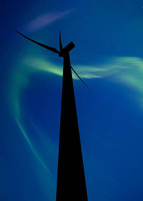 Wind Farm And Northern Lights Poster