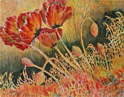 Poster featuring the painting Windblown Poppies by Carolyn Rosenberger