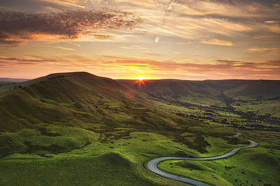 Winding Road Beneath Mam Tor, Peak District Poster by Verity E. Milligan