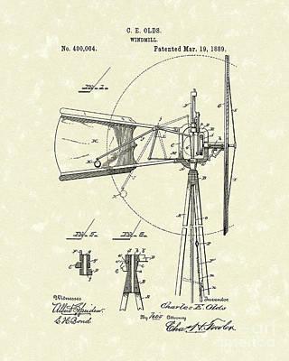 Windmill 1889 Patent Art Poster