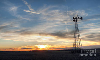 Windmill And Sunset Poster by Art Whitton