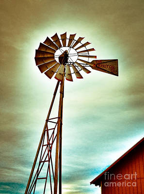 Windmill By The Old Red Barn Poster