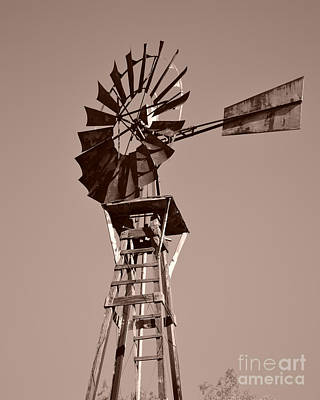 Windmill Sepia Poster by Rebecca Margraf