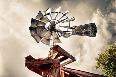 Windmill With Storm Approaching Poster by James Bethanis